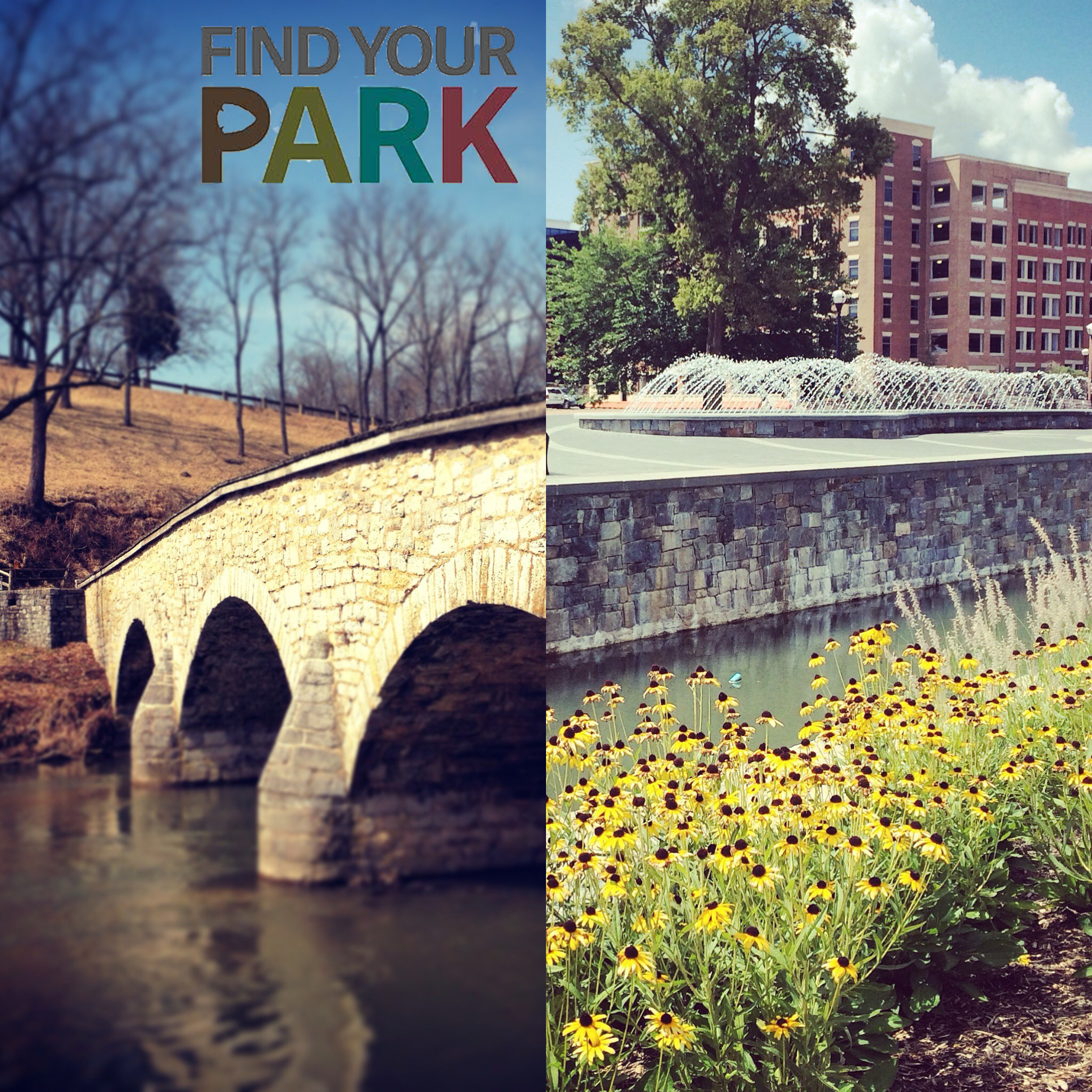 A side by side mashup of Burnside Bridge at Antietam with the Frederick historic district