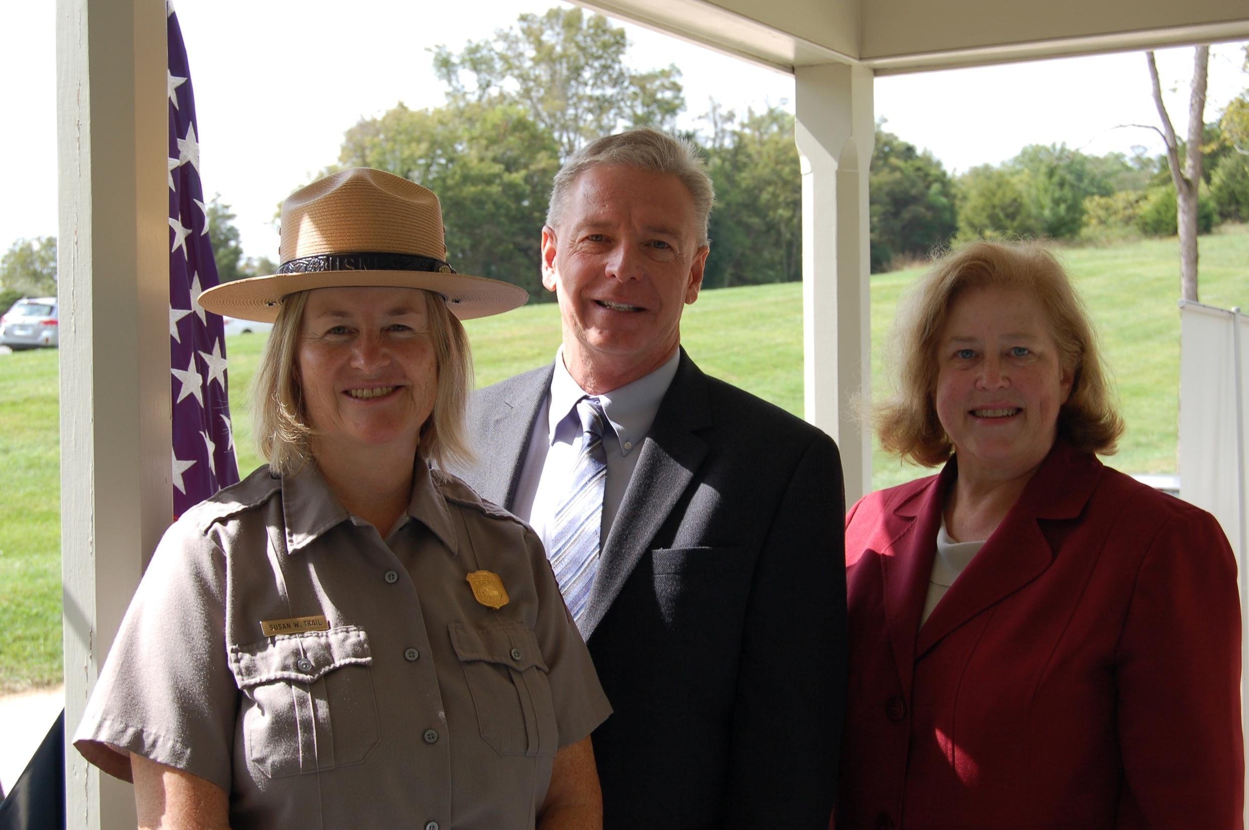 Antietam Superintendent Susan Trail, Visit Hagerstown President Dan Spedden, and Heart of the Civil War Director Liz Shatto