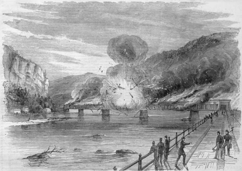 A black and white illustration of a railroad bridge being burned.