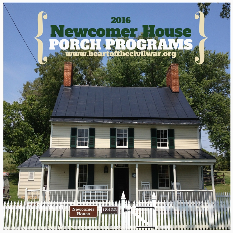 An image of the historic Newcomer House, a small wooden home with a large porch, at Antietam Battlefield.