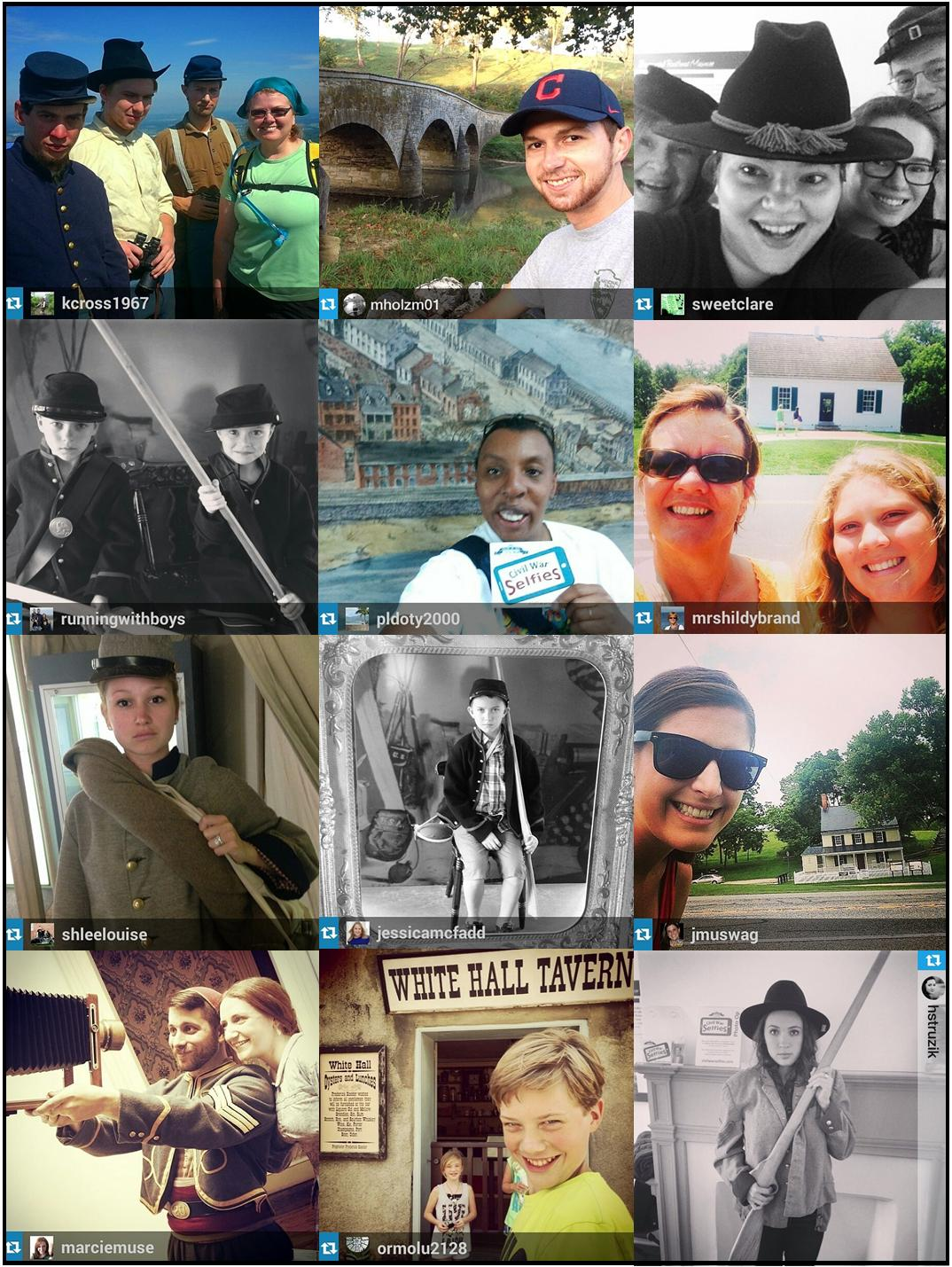 A collage of Civil War Selfies at historic sites from 2014.