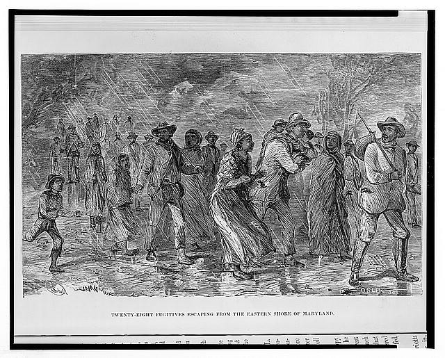 """""""Fugitives Escaping from the Eastern Shore of Maryland,"""" an illustration from Harpers Weekly of a group of enslaved people making their escape from slavery."""